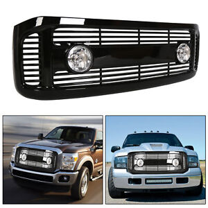 For 99 04 F250 F350 Black Horizontal Front Hood Bumper Grille W Fog Light