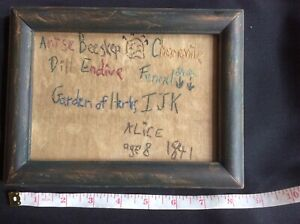 Vintage Antique Small Framed Child S Sampler Embroidery Herb Garden Dated 1841