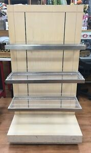 Retail Adjustable Store Shelving Nice Made Of Wood Glass And Stainless Steel