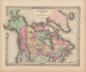 Northern America Vintage Map Colton 1856 Original Canadian Decor Gift Idea
