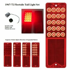 Pair Sequential Led Brake Tail Lights W Flasher For 1967 72 Chevy Pickup Truck
