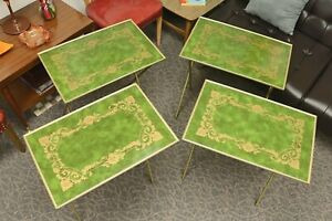 Vintage Mid Century Tv Trays 4 With Wheeled Storage Stand Caddy