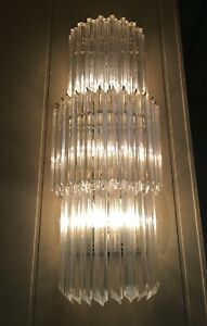 Murano Venini Quatro Punta Crystal Glass Wall Sconce Chandelier 7 Available 32