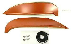 Pair Fender Skirts For 1963 Chevy Impala Bel Air Biscayne kit Clamps Rubber