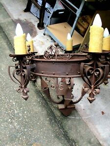 Beautiful Antique Gothic Cast Iron Chandelier