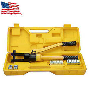 12 Ton Hydraulic Crimper Crimping Tool w 9 Dies Wire Battery Cable Lug Terminal