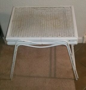 Mid Century Salterini Style Wrought Iron Metal Mesh Stacking End Tables Cute