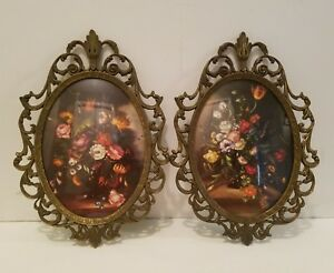 Vintage Pair Of Ornate Metal Bubble Glass Picture Frame Italy Photo Art