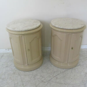 Pair Vintage French Provincial Style End Tables Nightstands With Marble Tops