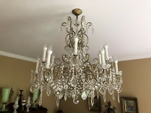 Vintage Italian Crystal Macaroni Beaded Directoire Chandelier 12 Light 34