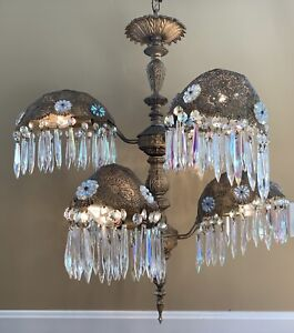 Vintage Antique Art Deco Nouveau Palm Frond Crystal Filigree Chandelier 6 Light