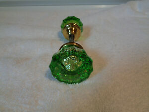 Vintage Antique Glass Doorknobs Colored Dyed Green 1920 S Solid Brass Hubs