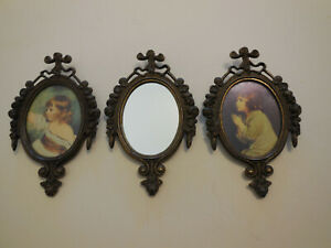 3 Small Vintage Oval Ornate Metal Frame Pictures Made In Italy 6 5 X 4