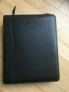 Classic black Franklinquest Full Grain Napa Leather Zip Binder 7 1 5 Gold Rings