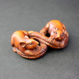 Netsuke Snake Mouse Showa Period Japan Antique Carved Strap Japanese Boxwood F S