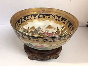 Vintage Chinese Punch Bowl European Hunting Scenes Blue Gold On Stand C1970s