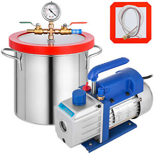 50 L m Vacuum Chamber And 3cfm 2gallon Stage Pump Degassing Silicone Kit Hot Oy