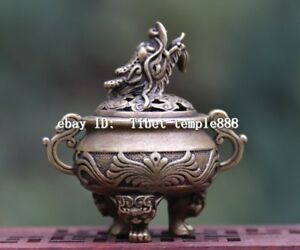 6 Cm Chinese Pure Bronze Copper Foo Dog Lion Dragon Head Incense Burners Censer