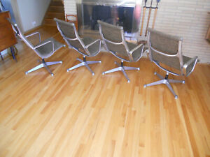 Mid Century Herman Miller Eames Aluminum Group Fabric Lounge Chair 1960 S