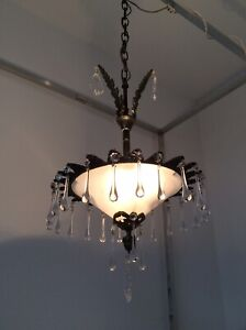 Antique Art Deco Bronze And Lead Crystals French Chandelier C1920s