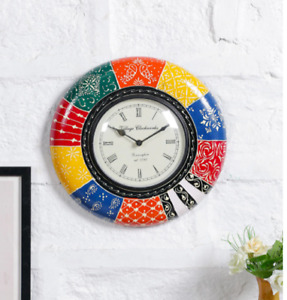 Antique Multicolor Inch Round Hand Wooden Painted Wall Clock Home Kitchen Decor