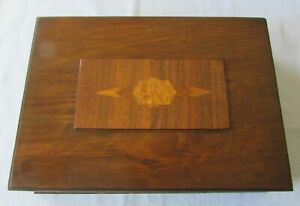 Antique Wood Document Box Marquetry Inlay On Top Decorative Sides