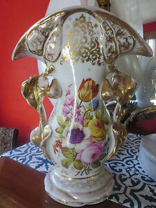 Exquisite Large Floral Gilded Old Paris Porcelain Vase