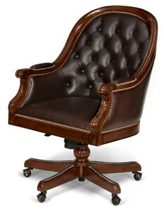 Hand Carved Mahogany Swivel Office Desk Chair