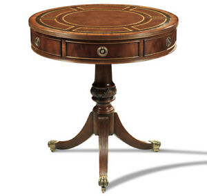 Crotch Mahogany Small Drum Table With Antique Brown Leather