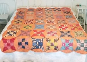 70 X 81 Antique Feedsack Patchwork Quilt Handmade Hand Stitched Twin Beadspread