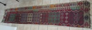 Antique Hand Knotted Kurd Kilim Runner Rug Vegetable Dye 29 X146