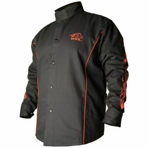 Revco Bsx Contoured Fr Cotton Welding Jacket Black red Flames