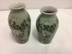 Pair Antique Chinese Asian Celadon Green Floral Vases