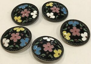 Beautiful Lot Of 5 Vtg Painted Enamel On Metal Floral Design Buttons 1 5 16