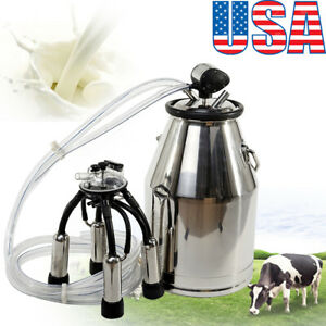 us portable Stainless Milking Machine Dairy Cow Milker Bucket Tank Barrel