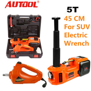 Electric Car Jack Stands 5 Ton Hydraulic Floor Jack With Impact Wrench 12v Dc