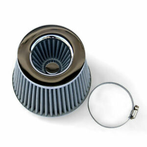 Silver Gray Chrome General Car Air Filter Induction Kit Sports Mesh Cone