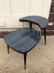 Vintage Mid Century Modern 2 Tier End Table Formica Over Wood Good