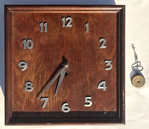 Lovely Art Deco Squarw Wooden Wall Clock