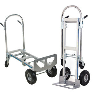 2 In1aluminum Hand Truck 770lbs Convertible Foldable Dolly 4 Wheel Cart Hot Sale