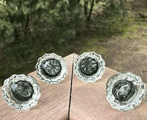 Vintage Antique Diamond 12 Point Clear Crystal Glass Door Knobs Lot Of 4