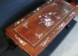 Vintage Chinese Mother Of Pearl Inlay Coffee Table Inlaid Mop Rosewood