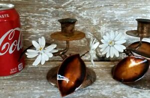 Vintage Tole Metal Candle Sticks Pair Holders Copper Enamel Flower Leaves Daisy
