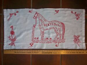 American Dexter Horse Vintage Linen Table Cloth Runner Hand Embroidered Large