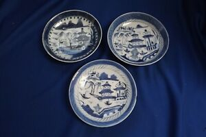 3 Antique Canton Chinese Blue White Porcelain 5 To 5 3 4 Plates Bowl Chips