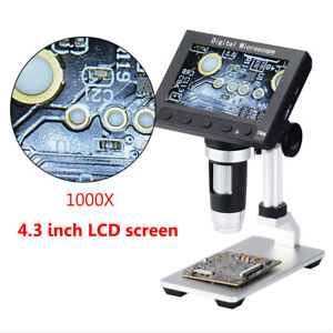 1000x Digital Microscope Camera 4 3 Screen Soldering Magnifier Tool With Holder