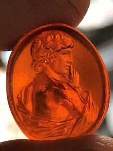 Glass Grand Tour Intaglio Like Antique Seal Tassie Neoclassical Greek Antinous