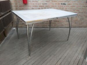 Vintage Mcm Kitchen Table Formica With Chrome Legs Mid Century Modern Folding