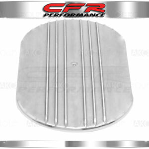 Aluminum 12 Oval Air Cleaner Top Partial Finned Polished Fits 5 1 8 Neck