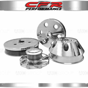 Chevy Sb Small Block Billet Short Water Pump Serpentine Pulley Set Polished